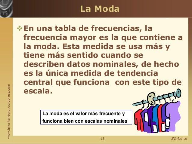 www.jmontenegro.wordpress.com La Moda En una tabla de frecuencias, la frecuencia mayor es la que contiene a la moda. Esta...