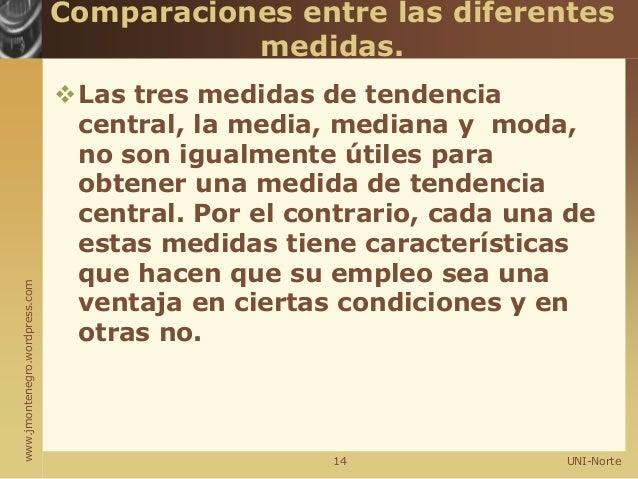 www.jmontenegro.wordpress.com Comparaciones entre las diferentes medidas. Las tres medidas de tendencia central, la media...