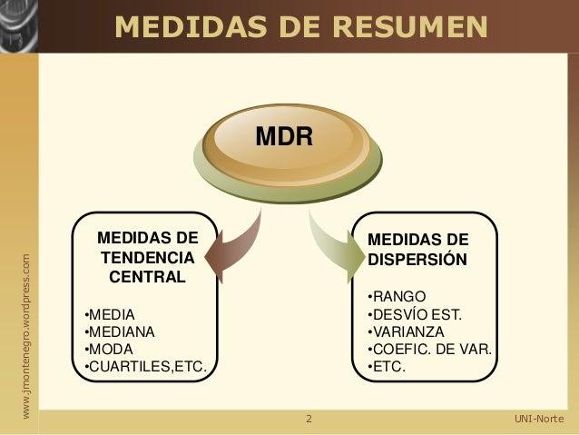 www.jmontenegro.wordpress.com UNI-Norte MEDIDAS DE RESUMEN MEDIDAS DE TENDENCIA CENTRAL •MEDIA •MEDIANA •MODA •CUARTILES,E...