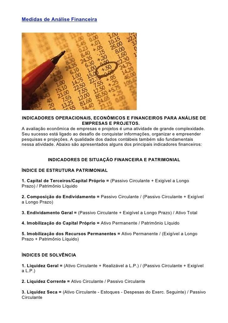 Medidas de Análise Financeira ...     INDICADORES OPERACIONAIS, ECONÔMICOS E FINANCEIROS PARA ANÁLISE DE                  ...