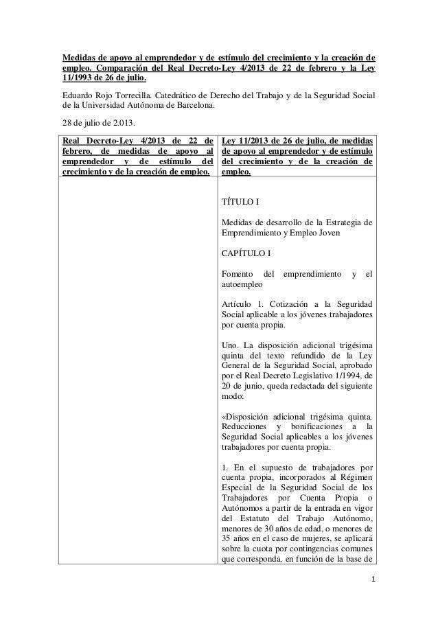 1 Medidas de apoyo al emprendedor y de estímulo del crecimiento y la creación de empleo. Comparación del Real Decreto-Ley ...