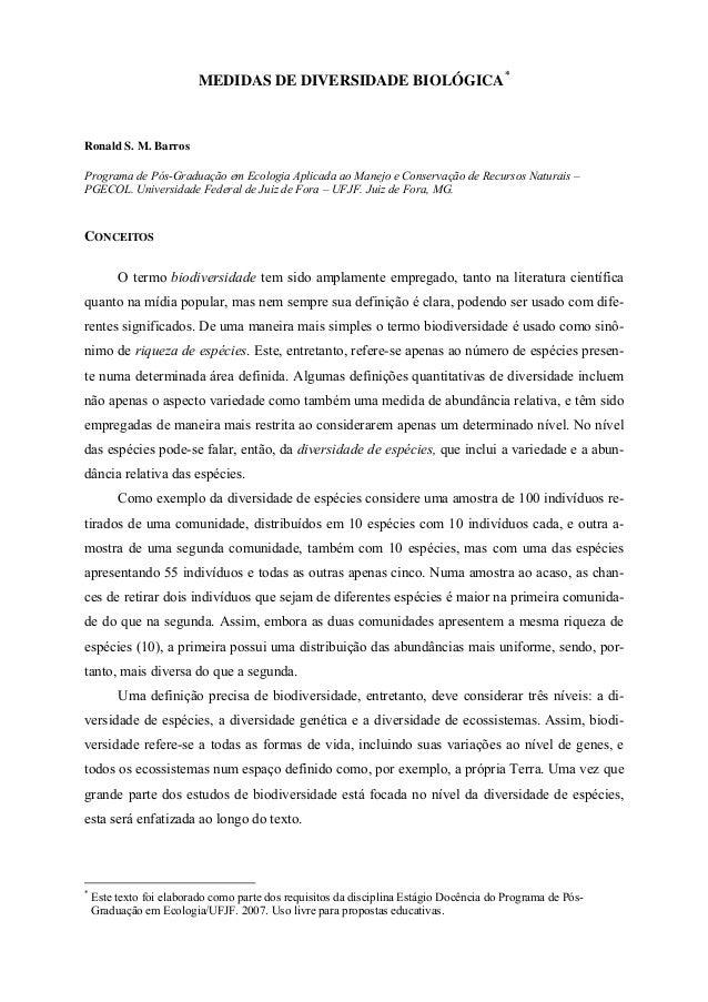 MEDIDAS DE DIVERSIDADE BIOLÓGICA*  Ronald S. M. Barros  Programa de Pós-Graduação em Ecologia Aplicada ao Manejo e Conserv...