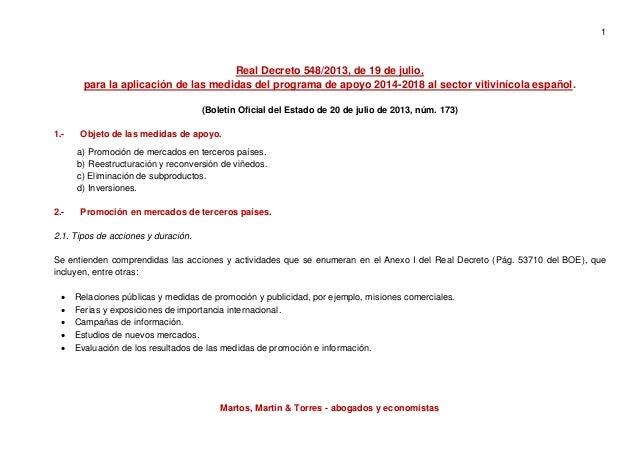 1 Martos, Martín & Torres - abogados y economistas Real Decreto 548/2013, de 19 de julio, para la aplicación de las medida...