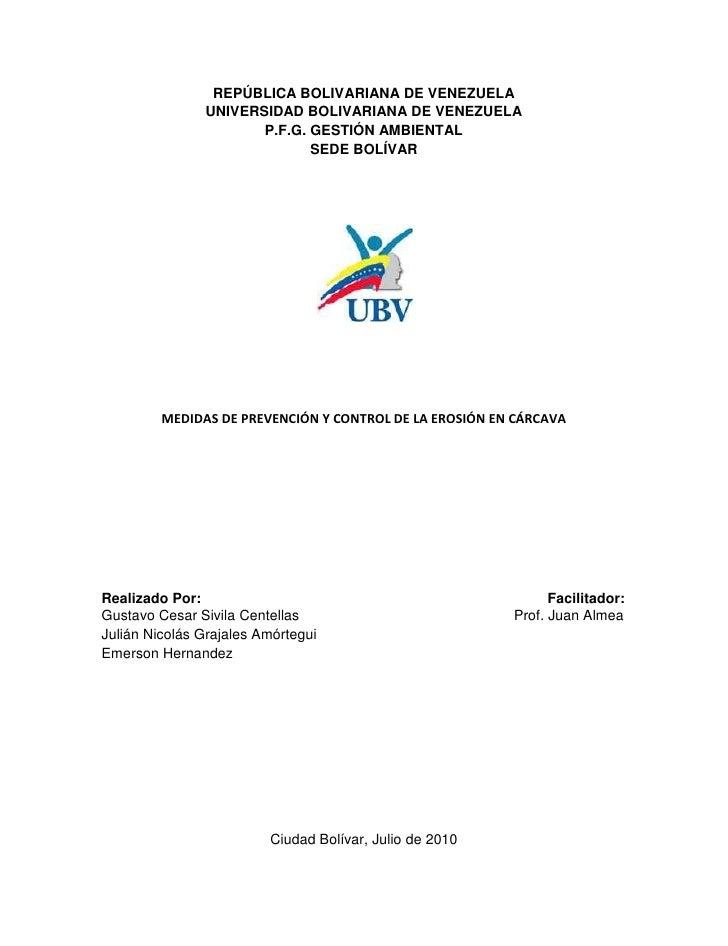 REPÚBLICA BOLIVARIANA DE VENEZUELA<br />UNIVERSIDAD BOLIVARIANA DE VENEZUELA<br />P.F.G. GESTIÓN AMBIENTAL<br />SEDE BOLÍV...