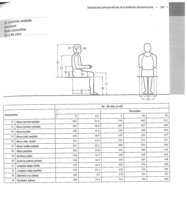 Medidas latinoamericanas dimensiones antropom tricas de for Antropometria de la vivienda pdf