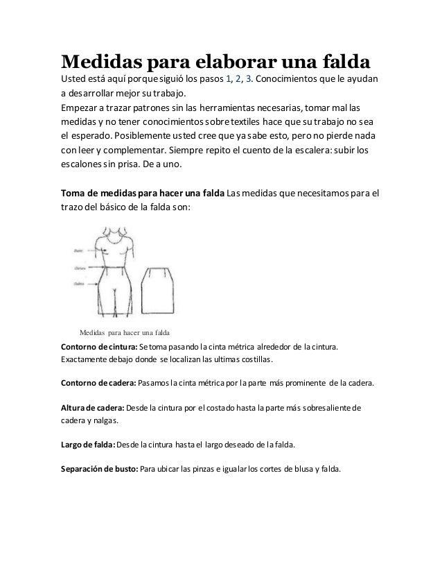 Medidas para elaborar una falda