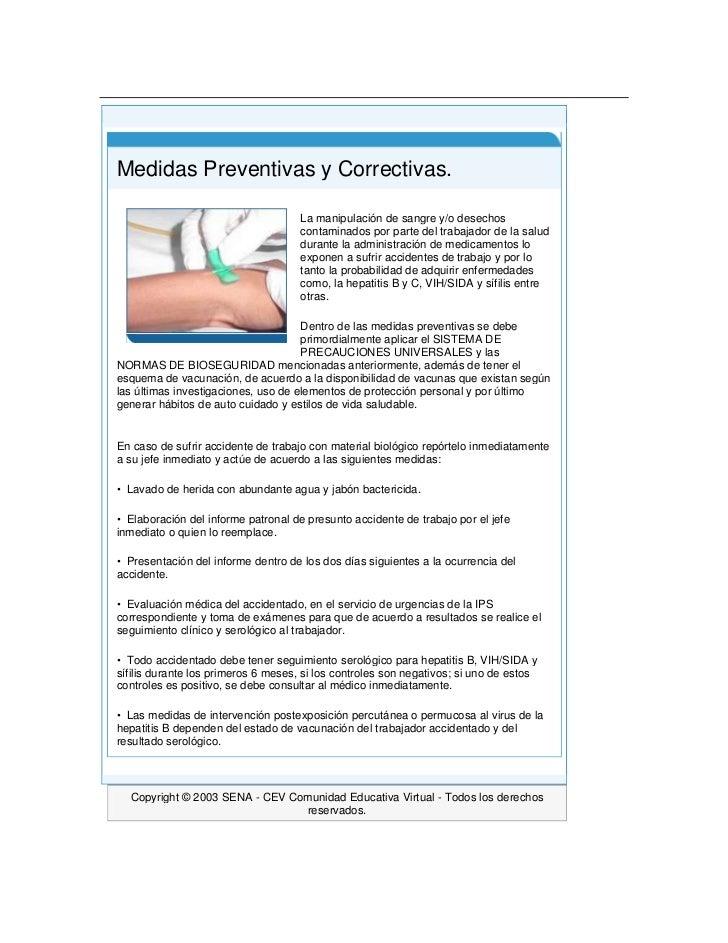 Principio del formulario<br />Final del formulario<br /> Medidas Preventivas y Correctivas.La manipulación de sangre y/o ...
