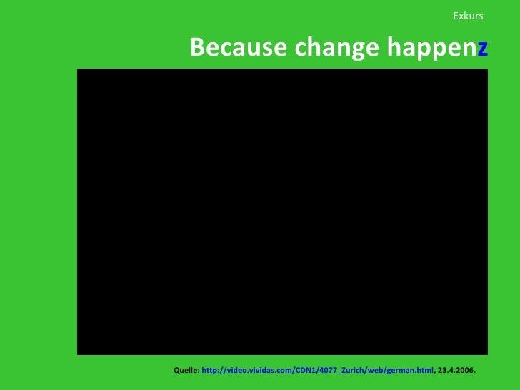 Because change happen z Quelle:  http:// video.vividas.com/CDN1/4077_Zurich/web/german.html , 23.4.2006. Exkurs