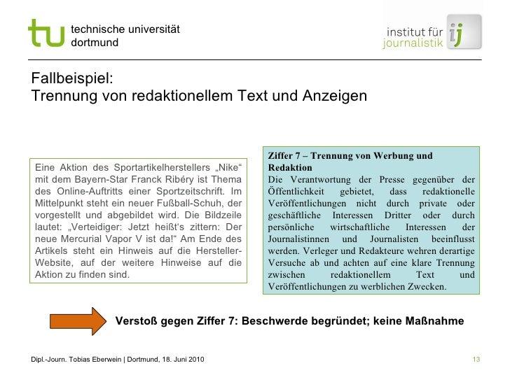 """Fallbeispiel: Trennung von redaktionellem Text und Anzeigen Eine Aktion des Sportartikelherstellers """"Nike"""" mit dem Bayern-..."""