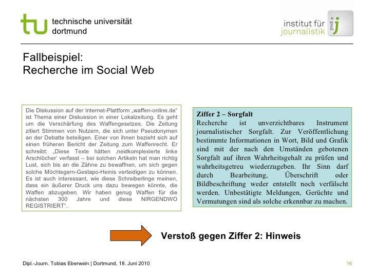 """Fallbeispiel: Recherche im Social Web Die Diskussion auf der Internet-Plattform """"waffen-online.de"""" ist Thema einer Diskuss..."""