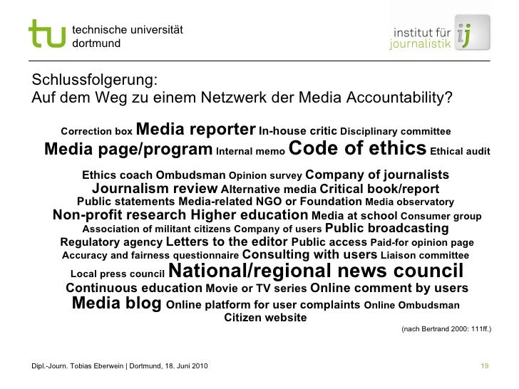 Schlussfolgerung: Auf dem Weg zu einem Netzwerk der Media Accountability? Correction box  Media reporter   In-house critic...