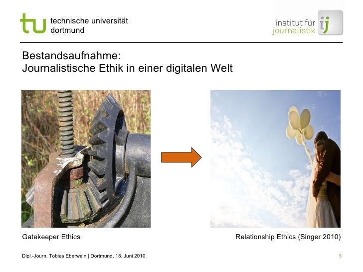 Bestandsaufnahme:  Journalistische Ethik in einer digitalen Welt Gatekeeper Ethics Relationship Ethics (Singer 2010)