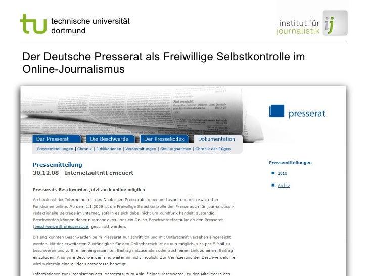 Der Deutsche Presserat als Freiwillige Selbstkontrolle im Online-Journalismus