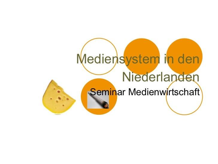 Mediensystem in den Niederlanden Seminar Medienwirtschaft