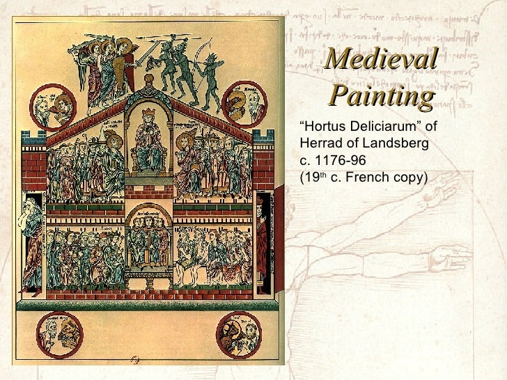 """Medieval Painting """" Hortus Deliciarum"""" of Herrad of Landsberg c. 1176-96 (19 th  c. French copy)"""