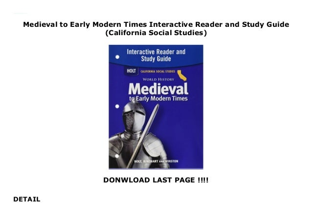 Medieval To Early Modern Times Interactive Reader And Study