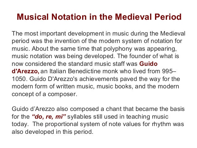 music of the medieval period Period medieval (500 - 1400) the medieval period began with the fall of the roman empire in the fifth century and ended with the emergence of the renaissance in the early fifteenth century medieval music was both sacred and secular during the early medieval period.