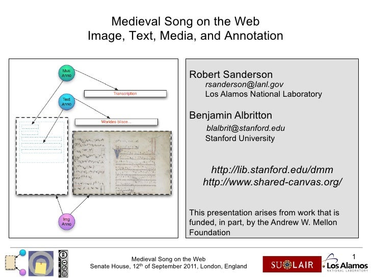 Medieval Song on the WebImage, Text, Media, and Annotation                                 Robert Sanderson               ...