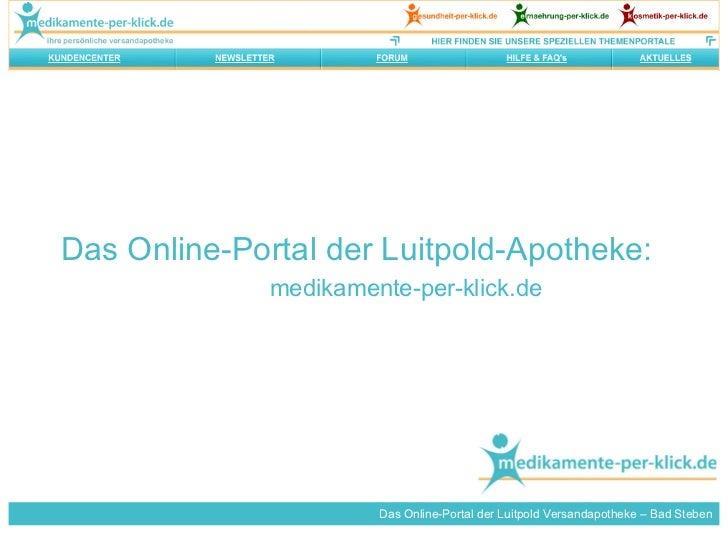 Das Online-Portal der Luitpold-Apotheke: medikamente-per-klick.de Das Online-Portal der Luitpold Versandapotheke – Bad Ste...