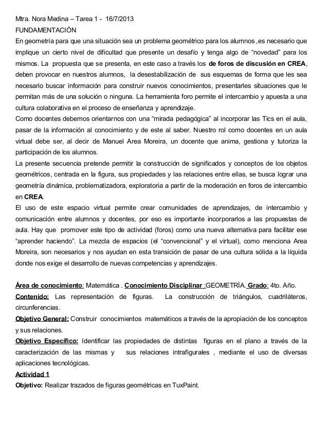 Mtra. Nora Medina – Tarea 1 - 16/7/2013 FUNDAMENTACIÓN En geometría para que una situación sea un problema geométrico para...