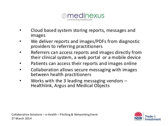 • Cloud based system storing reports, messages and images • We deliver reports and images/PDFs from diagnostic providers t...