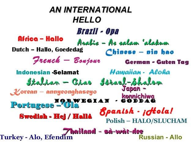 AN INTERNATIONALAN INTERNATIONAL HELLOHELLO Brazil - Opa Chinese – nin haoDutch – Hallo, Goededag French – Bonjour German ...