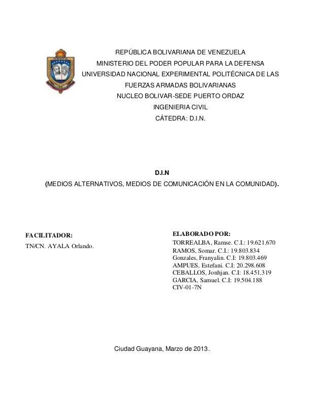 REPÚBLICA BOLIVARIANA DE VENEZUELA                        MINISTERIO DEL PODER POPULAR PARA LA DEFENSA                 UNI...