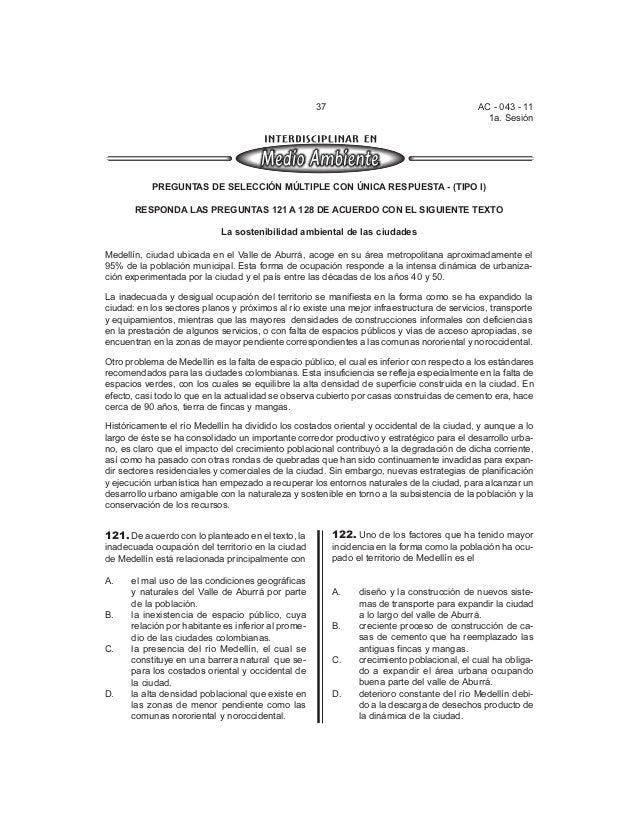 37 AC - 043 - 11  1a. Sesión  PREGUNTAS DE SELECCIÓN MÚLTIPLE CON ÚNICA RESPUESTA - (TIPO I)  RESPONDA LAS PREGUNTAS 121 A...