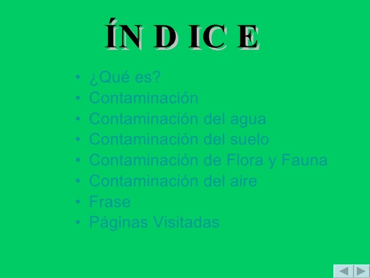ÍNDICE <ul><li>¿Qué es? </li></ul><ul><li>Contaminación </li></ul><ul><li>Contaminación del agua </li></ul><ul><li>Contami...