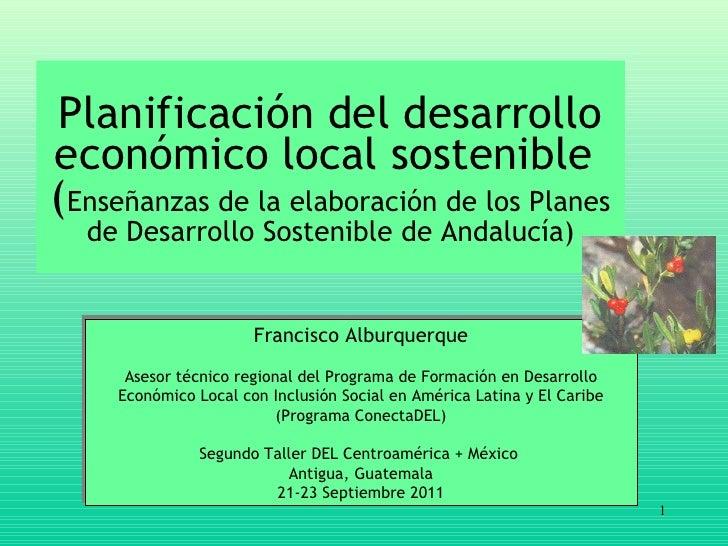 Planificación del desarrollo económico local sostenible  ( Enseñanzas  de la  elaboración  de  los Planes de Desarrollo So...