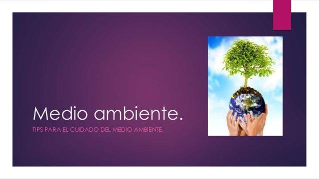 Medio ambiente. TIPS PARA EL CUIDADO DEL MEDIO AMBIENTE.