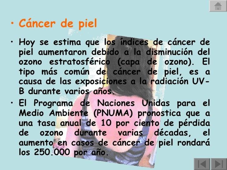 <ul><li>Cáncer de piel       </li></ul><ul><li>Hoy se estima que los índices de cáncer de piel aumentaron debido a la d...