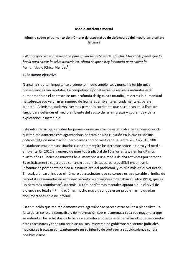 Medio ambiente mortal Informe sobre el aumento del número de asesinatos de defensores del medio ambiente y la tierra «Al p...