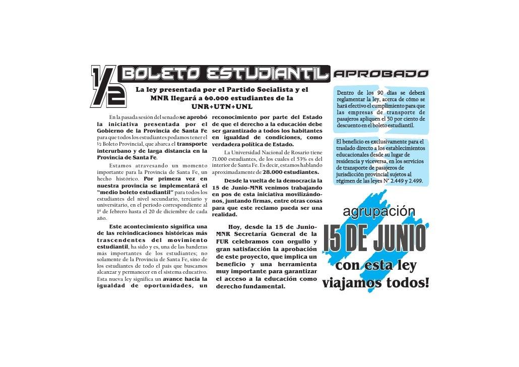 ½         Boleto estudiantil aprobado                 La ley presentada por el Partido Socialista y el                    ...