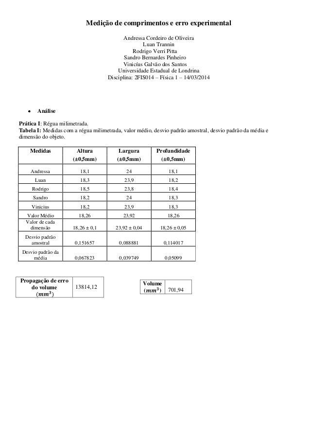 Medição de comprimentos e erro experimental Andressa Cordeiro de Oliveira Luan Trannin Rodrigo Verri Pitta Sandro Bernarde...
