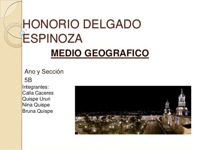 HONORIO DELGADO ESPINOZA MEDIO GEOGRAFICO Ano y Sección 5B Integrantes: Calla Caceres Quispe Ururi Nina Quispe Bruna Quispe