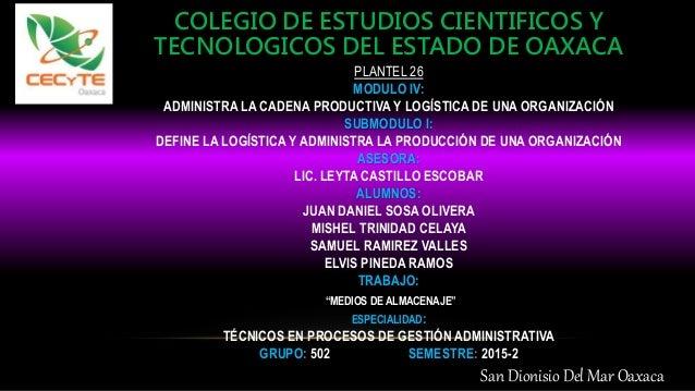 COLEGIO DE ESTUDIOS CIENTIFICOS Y TECNOLOGICOS DEL ESTADO DE OAXACA PLANTEL 26 MODULO IV: ADMINISTRA LA CADENA PRODUCTIVA ...