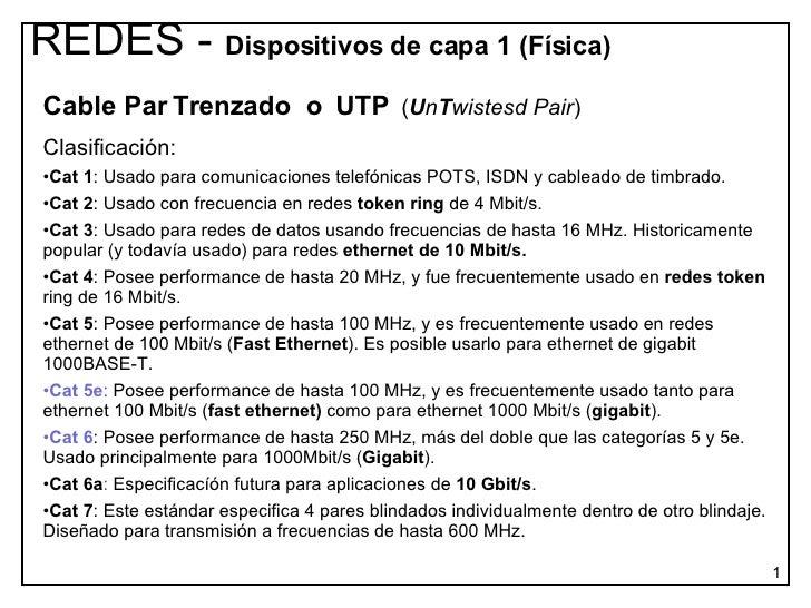 <ul><li>Cable Par Trenzado  o  UTP   ( U n T wistesd Pair )  </li></ul><ul><li>Clasificación: </li></ul><ul><li>Cat 1 : Us...