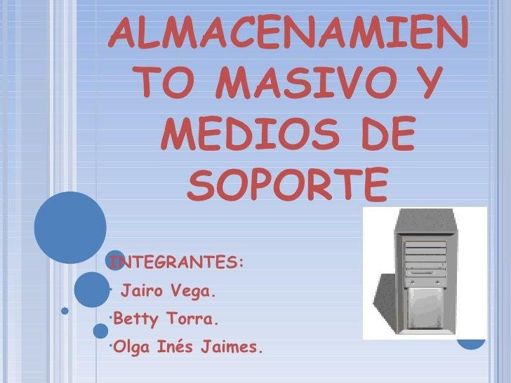 <ul><li>INTEGRANTES: </li></ul><ul><li>Jairo Vega. </li></ul><ul><li>Betty Torra. </li></ul><ul><li>Olga Inés Jaimes. </li...