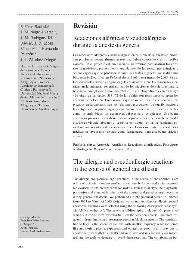 Alergol Inmunol Clin 2005; 20: 258-264  F. Pérez Bautista1, J. M. Negro Álvarez2&, J. M. Rodríguez-Tafur Dávila3, J. D. Ló...