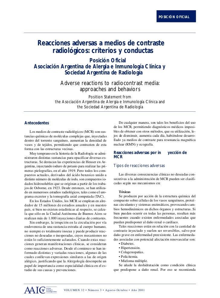 POSICIÓN OFICIAL         Reacciones adversas a medios de contraste             radiológicos: criterios y conductas        ...