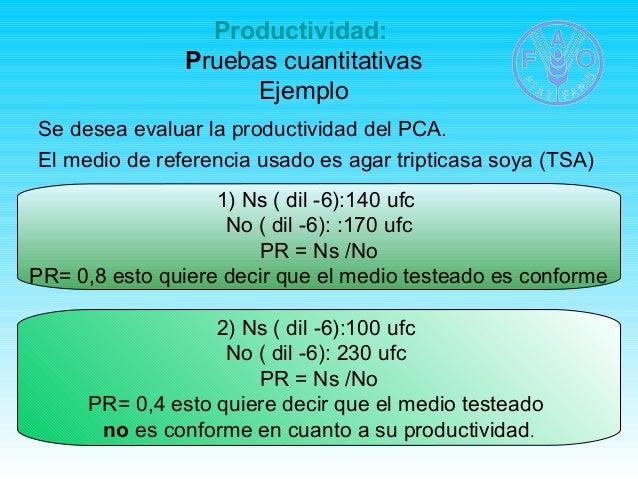 Productividad:  Pruebas cuantitativas  Ejemplo  Se desea evaluar la productividad del PCA.  El medio de referencia usado e...