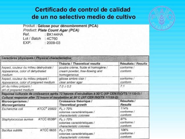 Certificado de control de calidad  de un no selectivo medio de cultivo