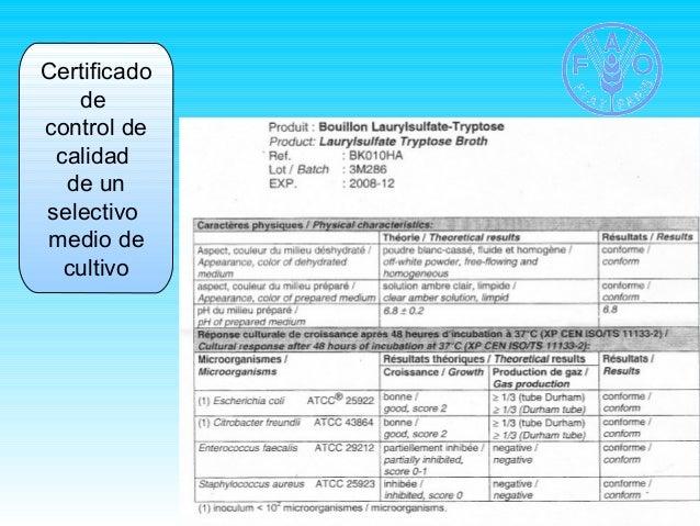 Certificado  de  control de  calidad  de un  selectivo  medio de  cultivo