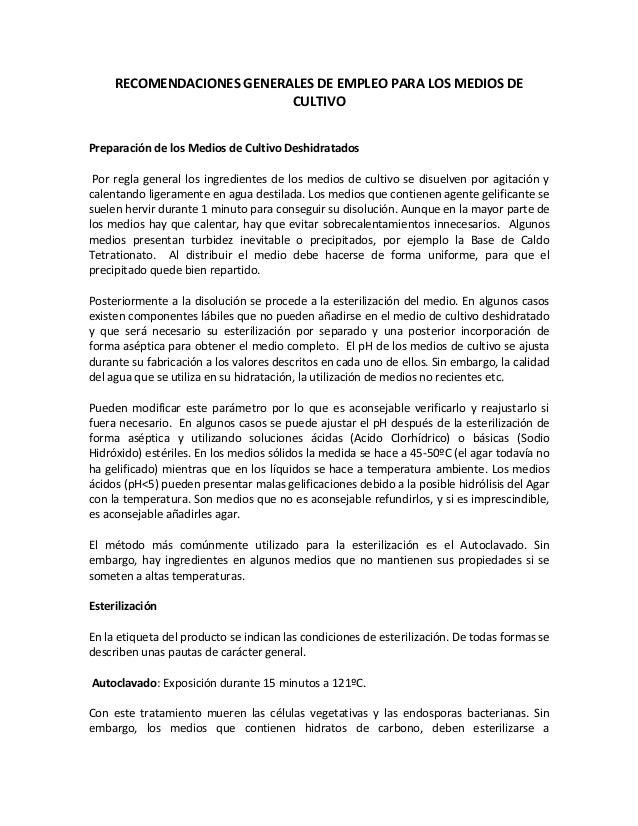 RECOMENDACIONES GENERALES DE EMPLEO PARA LOS MEDIOS DE                           CULTIVOPreparación de los Medios de Culti...