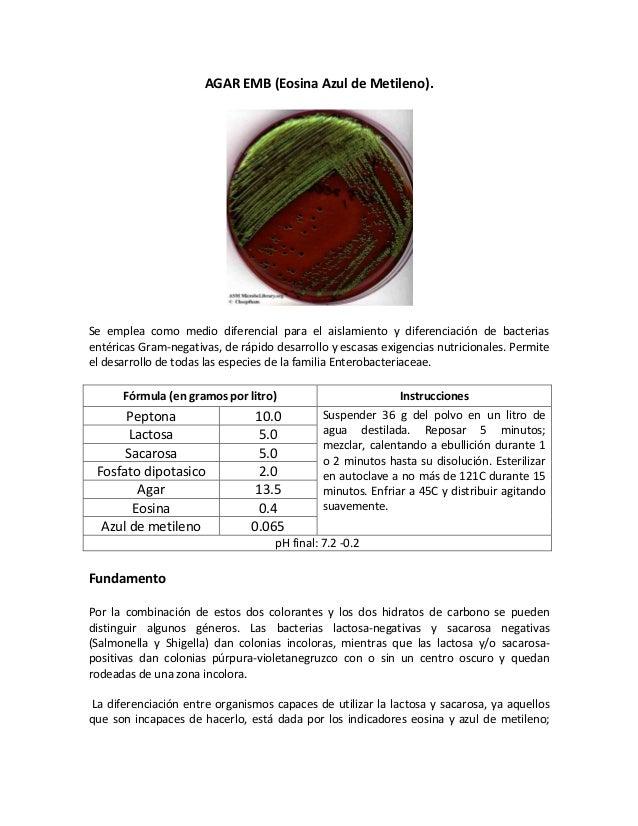 AGAR EMB (Eosina Azul de Metileno).Se emplea como medio diferencial para el aislamiento y diferenciación de bacteriasentér...