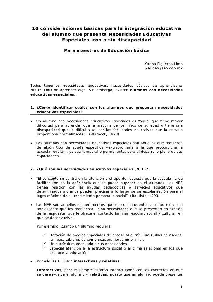 10 consideraciones básicas para la integración educativa    del alumno que presenta Necesidades Educativas           Espec...
