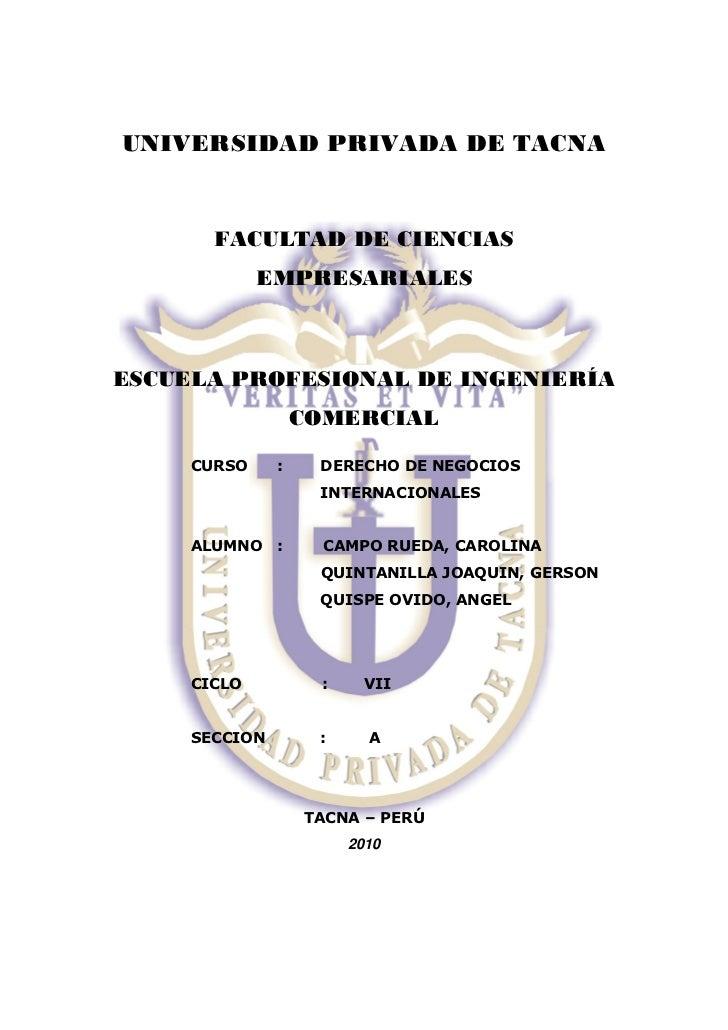 UNIVERSIDAD PRIVADA DE TACNA       FACULTAD DE CIENCIAS             EMPRESARIALESESCUELA PROFESIONAL DE INGENIERÍA        ...