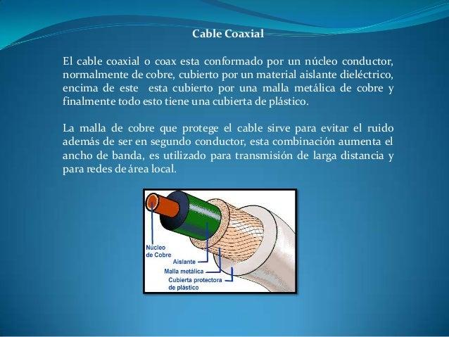 Cable Coaxial El cable coaxial o coax esta conformado por un núcleo conductor, normalmente de cobre, cubierto por un mater...