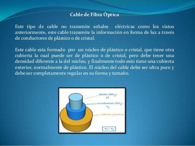 Cable de Fibra Óptica Este tipo de cable no transmite señales eléctricas como los vistos anteriormente, este cable transmi...